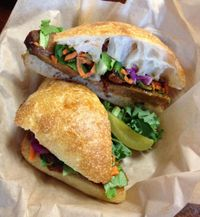 """Photo of VO2 Vegan Cafe  by <a href=""""/members/profile/Jeopardy"""">Jeopardy</a> <br/>Bánh Mimi - BBQ Seitan <br/> July 25, 2015  - <a href='/contact/abuse/image/34862/202223'>Report</a>"""