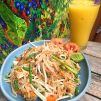 """Photo of Anchan Vegetarian Restaurant  by <a href=""""/members/profile/lolacooks"""">lolacooks</a> <br/>pad thai and mango smoothie <br/> August 16, 2016  - <a href='/contact/abuse/image/34920/169165'>Report</a>"""