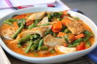 """Photo of Anchan Vegetarian Restaurant  by <a href=""""/members/profile/reissausta%20ja%20ruokaa"""">reissausta ja ruokaa</a> <br/>Penang curry with mushrooms and soy protein bites.  <br/> September 22, 2016  - <a href='/contact/abuse/image/34920/177363'>Report</a>"""