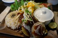 """Photo of CLOSED: Vespera's Falafel  by <a href=""""/members/profile/Ricardo"""">Ricardo</a> <br/>Falafel burger set. 1050 yen (two burgers + avocado topping) <br/> July 12, 2014  - <a href='/contact/abuse/image/36290/73840'>Report</a>"""