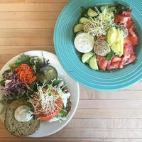 """Photo of Superfresh Organic Cafe  by <a href=""""/members/profile/Equilibrium"""">Equilibrium</a> <br/>Mushroom Burger & Raw Falafel Salad <br/> February 23, 2017  - <a href='/contact/abuse/image/36615/229639'>Report</a>"""