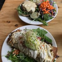 """Photo of Superfresh Organic Cafe  by <a href=""""/members/profile/JamieElder"""">JamieElder</a> <br/>Burrito and Mushroom Burger!  <br/> May 4, 2017  - <a href='/contact/abuse/image/36615/255610'>Report</a>"""