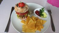 """Photo of Harvest Cafe Bistrot  by <a href=""""/members/profile/zippper4"""">zippper4</a> <br/>Vegan burger with tortilla chips and guacamol/ ketchup with persley :) <br/> August 3, 2015  - <a href='/contact/abuse/image/37469/112063'>Report</a>"""
