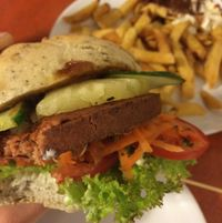 """Photo of De Vegetarische Snackbar  by <a href=""""/members/profile/StrilliVanilli"""">StrilliVanilli</a> <br/>Hawaii burger and fries <br/> August 24, 2015  - <a href='/contact/abuse/image/37902/115088'>Report</a>"""
