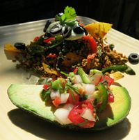 """Photo of Velo Bed and Breakfast  by <a href=""""/members/profile/mishaenglish123"""">mishaenglish123</a> <br/>Tofu chilaquiles with salsa fresca topped avocado <br/> September 12, 2014  - <a href='/contact/abuse/image/38811/219430'>Report</a>"""