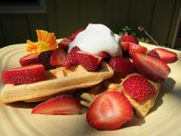 """Photo of Velo Bed and Breakfast  by <a href=""""/members/profile/mishaenglish123"""">mishaenglish123</a> <br/>organic waffles with strawberries and coconut whipped cream <br/> September 12, 2014  - <a href='/contact/abuse/image/38811/79743'>Report</a>"""