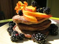 """Photo of Velo Bed and Breakfast  by <a href=""""/members/profile/mishaenglish123"""">mishaenglish123</a> <br/>organic gluten-free blueberry buckwheat pancakes with blackberry and nectarine <br/> September 12, 2014  - <a href='/contact/abuse/image/38811/79745'>Report</a>"""