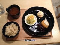 """Photo of Komaki Syokudo - Kamakura Fushikian  by <a href=""""/members/profile/iokan"""">iokan</a> <br/>The small menu. A selection of two salads and one fried dish. Soup and rice come as standard <br/> December 19, 2013  - <a href='/contact/abuse/image/40326/60570'>Report</a>"""