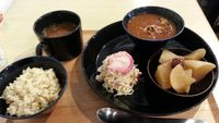 """Photo of Komaki Syokudo - Kamakura Fushikian  by <a href=""""/members/profile/frbou"""">frbou</a> <br/>Curry, Pickled daikon & Anise flavoured cooked daikon ♥ (with rice and miso soup of course) <br/> January 29, 2015  - <a href='/contact/abuse/image/40326/91620'>Report</a>"""