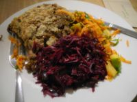 """Photo of Black Cat  by <a href=""""/members/profile/IanMcDonald"""">IanMcDonald</a> <br/>Aubergine, mushroom, and lentil moussaka with salads.  (Actually bought to represent the meal that helped convince Gandhi of the merits of vegetarianism. But that's another story ...) <br/> February 5, 2014  - <a href='/contact/abuse/image/41511/63782'>Report</a>"""
