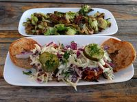 """Photo of Seabirds Kitchen  by <a href=""""/members/profile/Sonja%20and%20Dirk"""">Sonja and Dirk</a> <br/>Brussels sprouts and BBQ jackfruit sliders <br/> March 24, 2016  - <a href='/contact/abuse/image/42600/141184'>Report</a>"""
