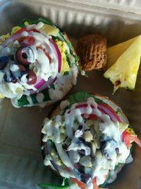 """Photo of Evolution Bakery and Cafe  by <a href=""""/members/profile/alexandra_vegan"""">alexandra_vegan</a> <br/>Athena bagel scramble to go <br/> September 27, 2017  - <a href='/contact/abuse/image/43352/309189'>Report</a>"""