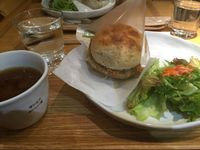 "Photo of LIMA - Shinjuku  by <a href=""/members/profile/SagaVigreBohinen"">SagaVigreBohinen</a> <br/>Vegan 'fish-burger' with hot tea and soup! <br/> December 8, 2015  - <a href='/contact/abuse/image/43583/127662'>Report</a>"