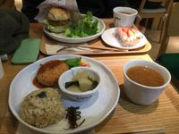 "Photo of LIMA - Shinjuku  by <a href=""/members/profile/SpokeyDoke"">SpokeyDoke</a> <br/> the veg burger and plate of the day, miso soup, and the strawberry/choc mousse. Burger was really yummy <br/> April 11, 2016  - <a href='/contact/abuse/image/43583/143873'>Report</a>"
