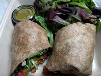 "Photo of LAX - Real Food Daily - T4  by <a href=""/members/profile/Sonja%20and%20Dirk"">Sonja and Dirk</a> <br/>spicy BLT wrap <br/> June 3, 2016  - <a href='/contact/abuse/image/43761/151985'>Report</a>"