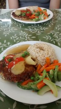 """Photo of Sayel Restaurante Vegetariano  by <a href=""""/members/profile/Andorina"""">Andorina</a> <br/>Soy pattie with mango topping <br/> February 14, 2018  - <a href='/contact/abuse/image/4914/359348'>Report</a>"""