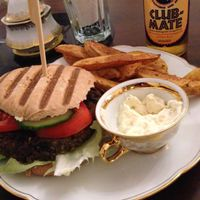 """Photo of Kruemelkueche  by <a href=""""/members/profile/StrilliVanilli"""">StrilliVanilli</a> <br/>This is their 'Roots of Compassion burger' with home made bread bun, burger patty, BBQ sauce and mango mayonnaise. Everything's self made and delicious.  <br/> November 22, 2014  - <a href='/contact/abuse/image/52017/86237'>Report</a>"""