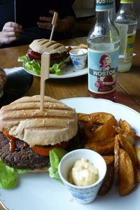 """Photo of Kruemelkueche  by <a href=""""/members/profile/SquirrelofNOM"""">SquirrelofNOM</a> <br/>My go-to meal: The Roots of Compassion burger with potato wedges and mango mayo (oh yes!) <br/> March 23, 2015  - <a href='/contact/abuse/image/52017/96639'>Report</a>"""