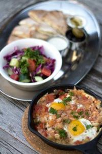 """Photo of Roni's Kitchen  by <a href=""""/members/profile/RonisKitchen"""">RonisKitchen</a> <br/>Shakshuka Breakfast (vegan option available) <br/> July 8, 2015  - <a href='/contact/abuse/image/52840/108591'>Report</a>"""