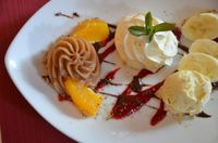 "Photo of Gasthaus am Predigtstuhl  by <a href=""/members/profile/Marcozaid"">Marcozaid</a> <br/>Maronicreme with ice-cream and fruits <br/> January 20, 2015  - <a href='/contact/abuse/image/53879/90873'>Report</a>"
