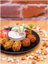 "Photo of Vegan Inspiratsioon  by <a href=""/members/profile/KohvikInspiratsioon"">KohvikInspiratsioon</a> <br/>Falafels with garlic cashew sauce <br/> November 4, 2015  - <a href='/contact/abuse/image/54262/123847'>Report</a>"