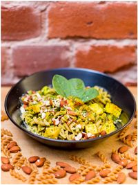 "Photo of Vegan Inspiratsioon  by <a href=""/members/profile/KohvikInspiratsioon"">KohvikInspiratsioon</a> <br/>Glutenfree spinach pasta with tofu, zucchini and roasted almonds <br/> November 4, 2015  - <a href='/contact/abuse/image/54262/123866'>Report</a>"