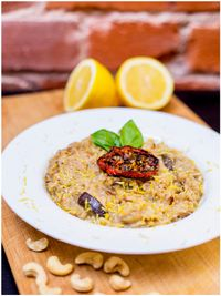 "Photo of Vegan Inspiratsioon  by <a href=""/members/profile/KohvikInspiratsioon"">KohvikInspiratsioon</a> <br/>Aubergine and lemon risotto with vegan parmesan <br/> November 4, 2015  - <a href='/contact/abuse/image/54262/123867'>Report</a>"
