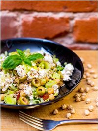 "Photo of Vegan Inspiratsioon  by <a href=""/members/profile/KohvikInspiratsioon"">KohvikInspiratsioon</a> <br/>main salad + olives, leak, vegan 'feta cheese', olive oil-oregano sauce <br/> November 4, 2015  - <a href='/contact/abuse/image/54262/123868'>Report</a>"