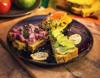 "Photo of Vegan Inspiratsioon  by <a href=""/members/profile/KohvikInspiratsioon"">KohvikInspiratsioon</a> <br/>Garlic breads with beetroot-potatoe salad, hummus, avocado and tomato <br/> December 8, 2016  - <a href='/contact/abuse/image/54262/237575'>Report</a>"