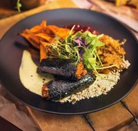 "Photo of Vegan Inspiratsioon  by <a href=""/members/profile/KohvikInspiratsioon"">KohvikInspiratsioon</a> <br/>Cruelty-free blood sausages with beer-rised sauerkraut, baked sweet potatoes, lingonberry jam and creamy mustard-basilico dressing <br/> December 8, 2016  - <a href='/contact/abuse/image/54262/237585'>Report</a>"