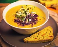 "Photo of Vegan Inspiratsioon  by <a href=""/members/profile/KohvikInspiratsioon"">KohvikInspiratsioon</a> <br/>Sweet potato and coconut soup with cinnamon and thyme <br/> December 8, 2016  - <a href='/contact/abuse/image/54262/237587'>Report</a>"