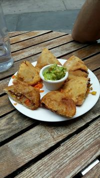 "Photo of The V Spot  by <a href=""/members/profile/Marie.Go"">Marie.Go</a> <br/>Vegan empanadas with guacamole  <br/> June 29, 2017  - <a href='/contact/abuse/image/59514/274700'>Report</a>"