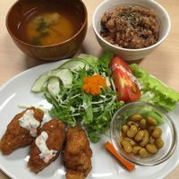 """Photo of Kaemon Asakusa  by <a href=""""/members/profile/MyVeganJoy"""">MyVeganJoy</a> <br/>amazing Soy mean Karaage bites and fresh salad <br/> September 9, 2015  - <a href='/contact/abuse/image/62217/117032'>Report</a>"""