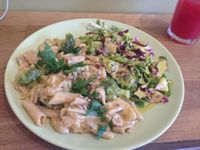 "Photo of Organitheka  by <a href=""/members/profile/FierceJewel"">FierceJewel</a> <br/>Brown rice penne in creamy broccoli sauce and mixed salad! <br/> July 24, 2017  - <a href='/contact/abuse/image/62283/284319'>Report</a>"