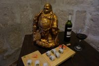 """Photo of El Buda Profano  by <a href=""""/members/profile/asp"""">asp</a> <br/>Wine and sushi. A great combination! <br/> December 25, 2015  - <a href='/contact/abuse/image/64990/129757'>Report</a>"""