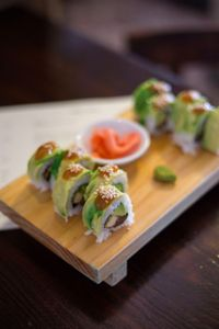 """Photo of El Buda Profano  by <a href=""""/members/profile/Hootinthehouse"""">Hootinthehouse</a> <br/>Avocado wrapped sushi, Goki <br/> June 21, 2017  - <a href='/contact/abuse/image/64990/271918'>Report</a>"""