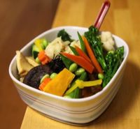 "Photo of Cha Ya  by <a href=""/members/profile/quarrygirl"">quarrygirl</a> <br/>Cha-Ya Delight: seasoned organic brown rice topped with carrots, kabocha, broccoli, lotus root, cauliflower, zucchini, shiitake, snow peas, <br/> November 30, 2011  - <a href='/contact/abuse/image/7274/189340'>Report</a>"