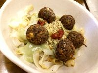 """Photo of La Encomienda  by <a href=""""/members/profile/Chnanis"""">Chnanis</a> <br/>quinoa balls served with pasta <br/> January 5, 2017  - <a href='/contact/abuse/image/76139/208445'>Report</a>"""