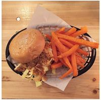 "Photo of Mooshies  by <a href=""/members/profile/MooshiesLondon"">MooshiesLondon</a> <br/>Our Pulled Mooshie made from Jackfruit and a side of sweet potato fries.  <br/> October 29, 2016  - <a href='/contact/abuse/image/78723/185286'>Report</a>"