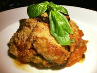 """Photo of La Pasta  by <a href=""""/members/profile/VeganMush"""">VeganMush</a> <br/>Eggplant parmigiana - deliciously rich and all vegan <br/> May 26, 2017  - <a href='/contact/abuse/image/83737/262570'>Report</a>"""