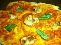 """Photo of La Pasta  by <a href=""""/members/profile/VeganMush"""">VeganMush</a> <br/>Pizza with home-made delicious vegan cheese <br/> May 26, 2017  - <a href='/contact/abuse/image/83737/262571'>Report</a>"""
