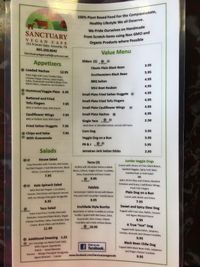 "Photo of Sanctuary Vegan Cafe  by <a href=""/members/profile/ScoutsMom"">ScoutsMom</a> <br/>Menu Front <br/> July 6, 2017  - <a href='/contact/abuse/image/84135/277185'>Report</a>"