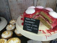 """Photo of Our Cornish Pasty Shop  by <a href=""""/members/profile/Miggi"""">Miggi</a> <br/>Vegan raspberry lemon layer cake <br/> April 15, 2018  - <a href='/contact/abuse/image/84324/386423'>Report</a>"""
