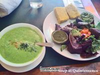 """Photo of Quintessence  by <a href=""""/members/profile/zeebianco"""">zeebianco</a> <br/>Green superfood soup with salad and raw 'bread'. Really rather delicious! <br/> August 3, 2012  - <a href='/contact/abuse/image/9731/35371'>Report</a>"""