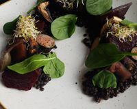 """Portobello mushroom with black lentil ragout and roasted beetroot<br/>                 <a href=""""/reviews/glow-belgrade-107923"""">Glow</a><br/> March 30, 2018"""