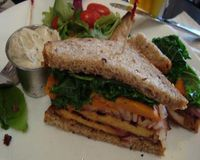 """BBQ TEMPEH & SWEET POTATO SANDWICH<br/>                 <a href=""""/reviews/candle-cafe-new-york-city-2260"""">Candle Cafe</a><br/> December 4, 2009"""