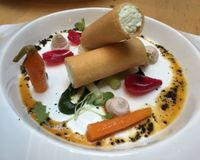 """Tomato salad and coconut yoghurt cannelloni<br/>                 <a href=""""/reviews/hectors-restaurant-auckland-24198"""">Hectors Restaurant</a><br/> December 11, 2015"""
