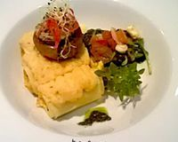 """Gratinated Ginger Carrots Cannelloni with Coconut Bechamel<br/>                 <a href=""""/reviews/lucky-leek-berlin-26241"""">Lucky Leek</a><br/> July 16, 2012"""