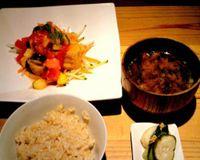 "Brown rice, crispy tofu cubes in tomato sauce, miso soup, pickles<br/>                 <a href=""/reviews/tamana-shokudo-tokyo-34363"">Tamana Shokudo</a><br/> October 9, 2012"