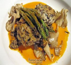 """Photo of Caravan of Dreams  by <a href=""""/members/profile/From%20A%20to%20Vegan"""">From A to Vegan</a> <br/>Wild Rice and Cremini Risotto Croquettes with Shiitake mushrooms, roasted red pepper puree, asparagus and French lentils <br/> August 16, 2011  - <a href='/contact/abuse/image/2261/210684'>Report</a>"""